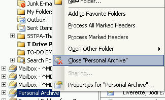adding an outlook archive file